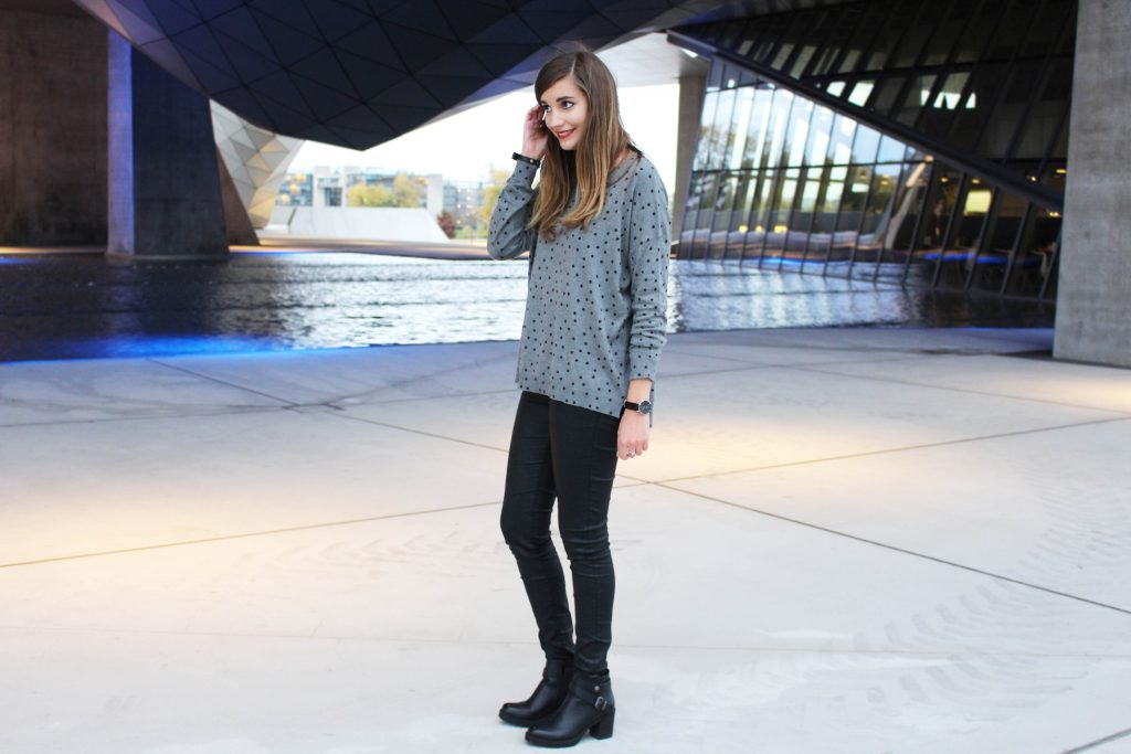 Look pull à pois blog mode Lyon