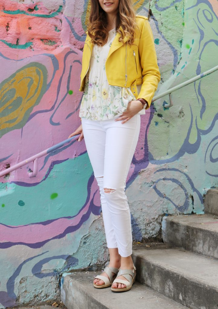 Look printemps veste jaune blog mode lyon
