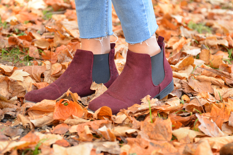 Look mode automne bottines bordeaux chelsea carla samuel