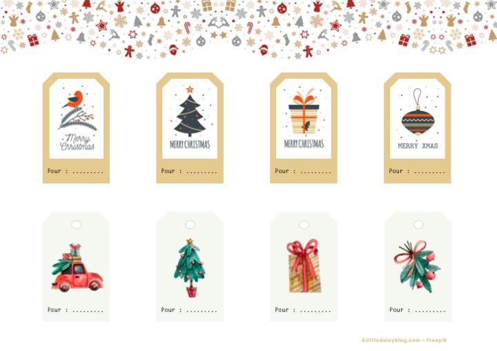 Etiquettes pour cadeaux de Noël à imprimer - Planche 1