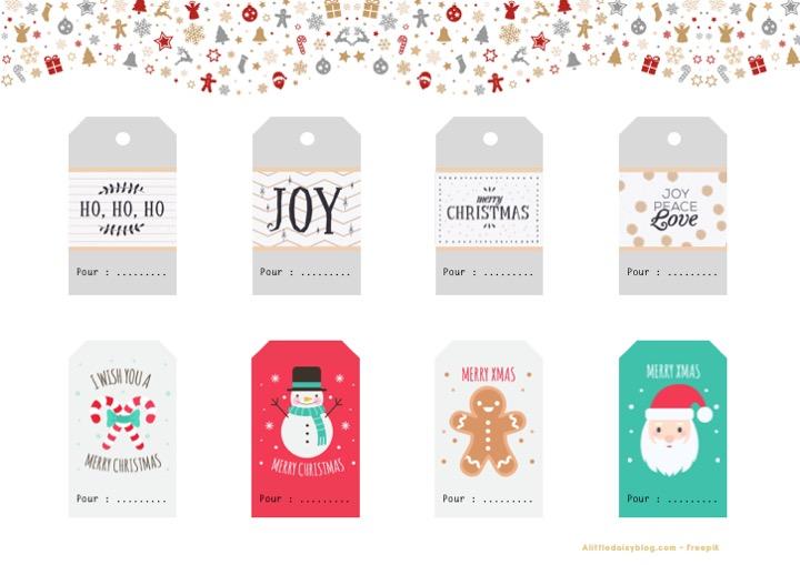 Etiquettes pour cadeaux de Noël à imprimer - Planche 2