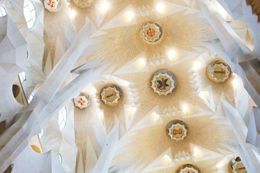 Plafond de la Sagrada Familia à Barcelone