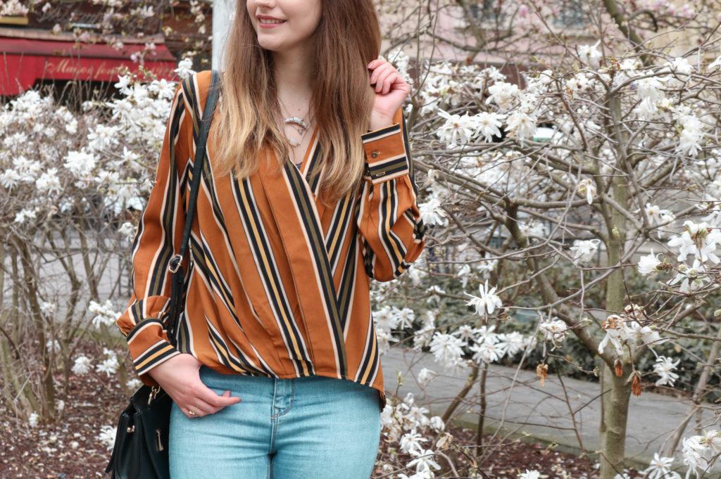 Look chemise rayée camel Cendriyon blog mode Lyon