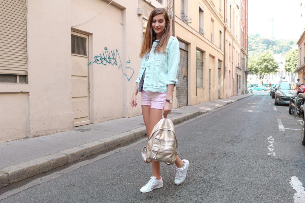 Look mode pastel tshirt Levi's Graphic J.V short rose H&M