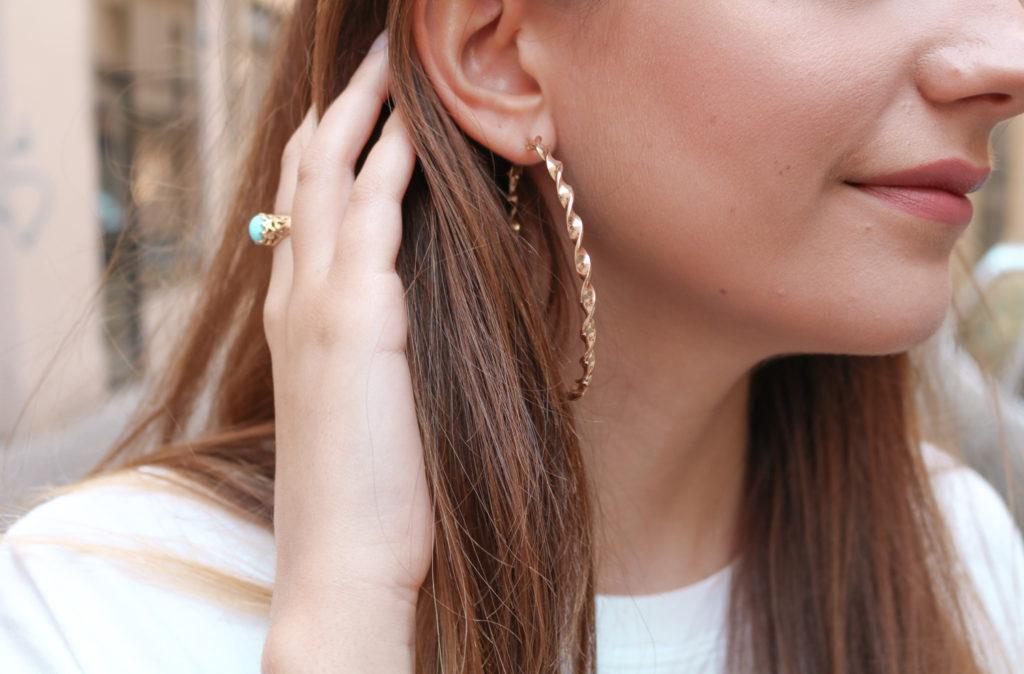Boucles oreilles créoles dorées H&M