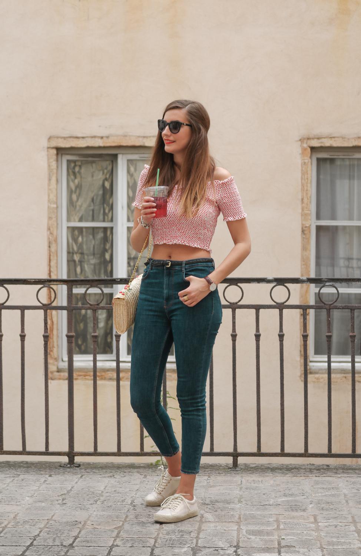 Look zara crop top à pois et jean taille haute blog mode lyon