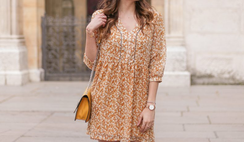 look robe jaune, robe jaune fleurie, robe jaune moutarde, robe jaune promod, robe jaune printemps, A Little Daisy Blog, Blog Lifestyle, Blog Lifestyle Lyon, Blog Beauté, Blog Beauté Lyon, Blog Mode, Blog Mode Lyon